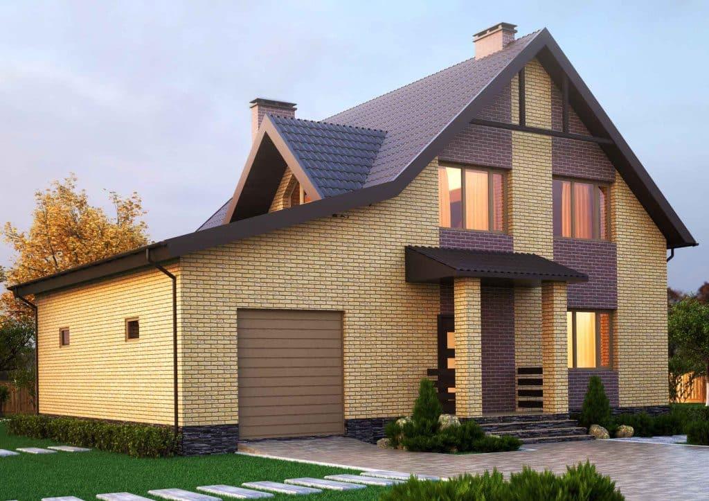 фото кирпичных двухцветных домов и коттеджей возникло